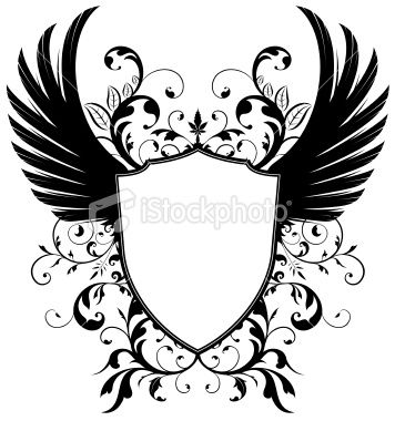 Coat Of Arms With Wings In Black And White Coat Of Arms Vector Art Illustration Vector Art