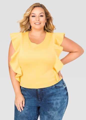 8fc23eb7e30c8b This plus size top features a neoprene textile and cascading front ruffles.