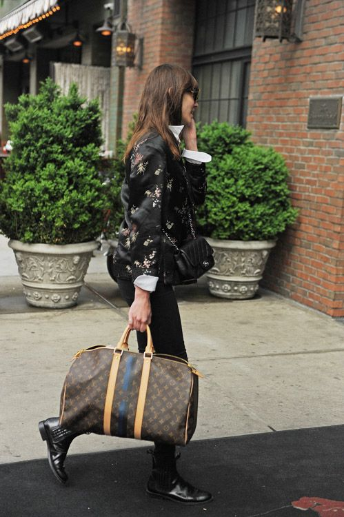 Alexa Chung steps out with Chanel (and even more customized Louis Vuitton  luggage) - PurseBlog ba0635837cc29