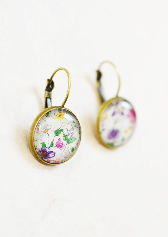 Glass Cabochon Earrings  Glass Dome  Tray by ThuyVosJewelBox