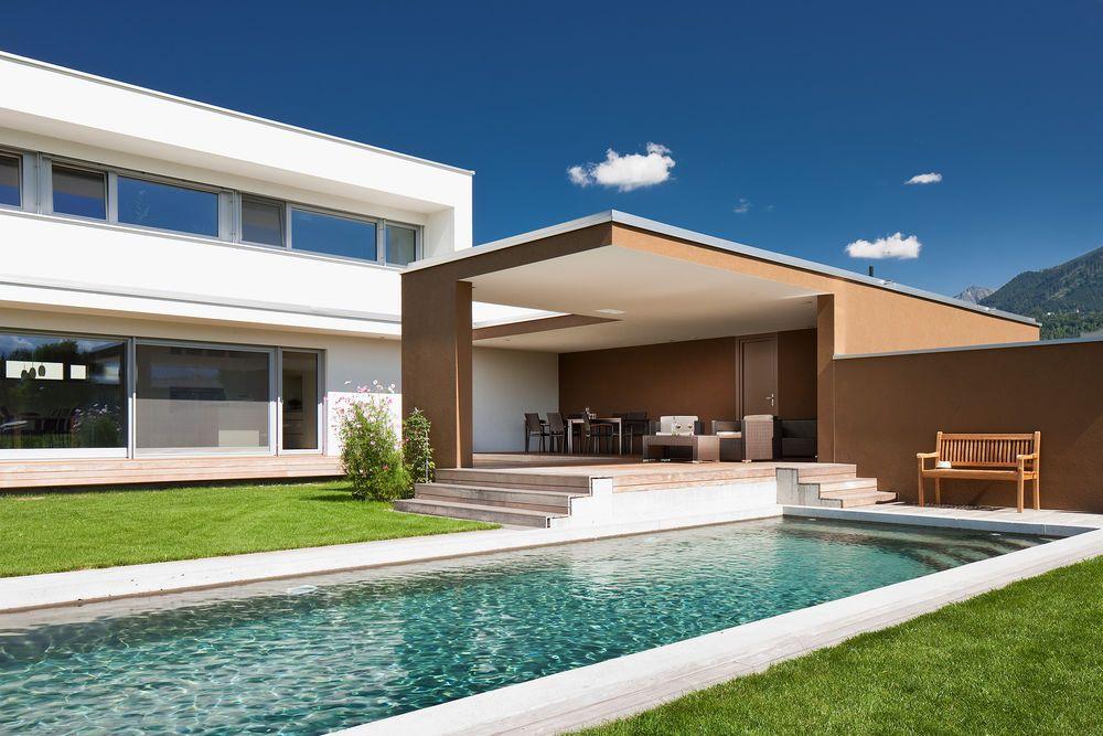 Massivbau Holz Alufenstermoderne L Form Moderne Architektur Pool