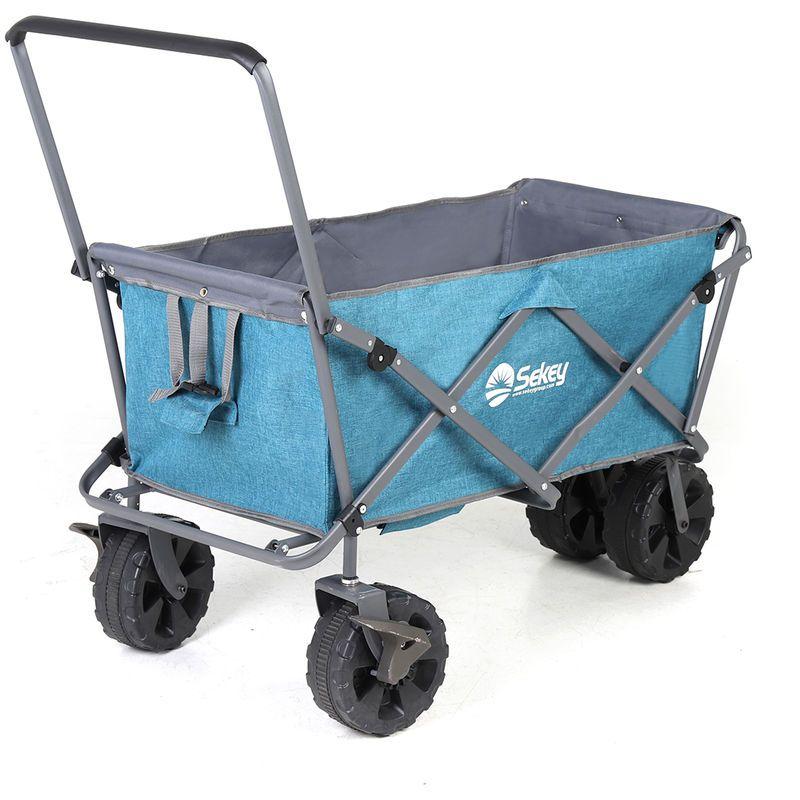 Sekey Chariot de Jardin Pliable avec Freins Chariot Transport /à main Remorque Pliante Charrette /à Bras pour Tous Les terrains Bleu