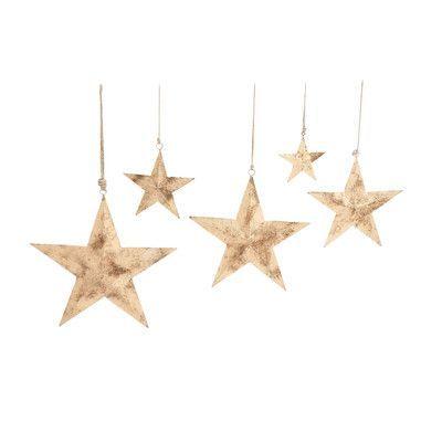 Cole & Grey 5 Piece Decorative Metal Star Set
