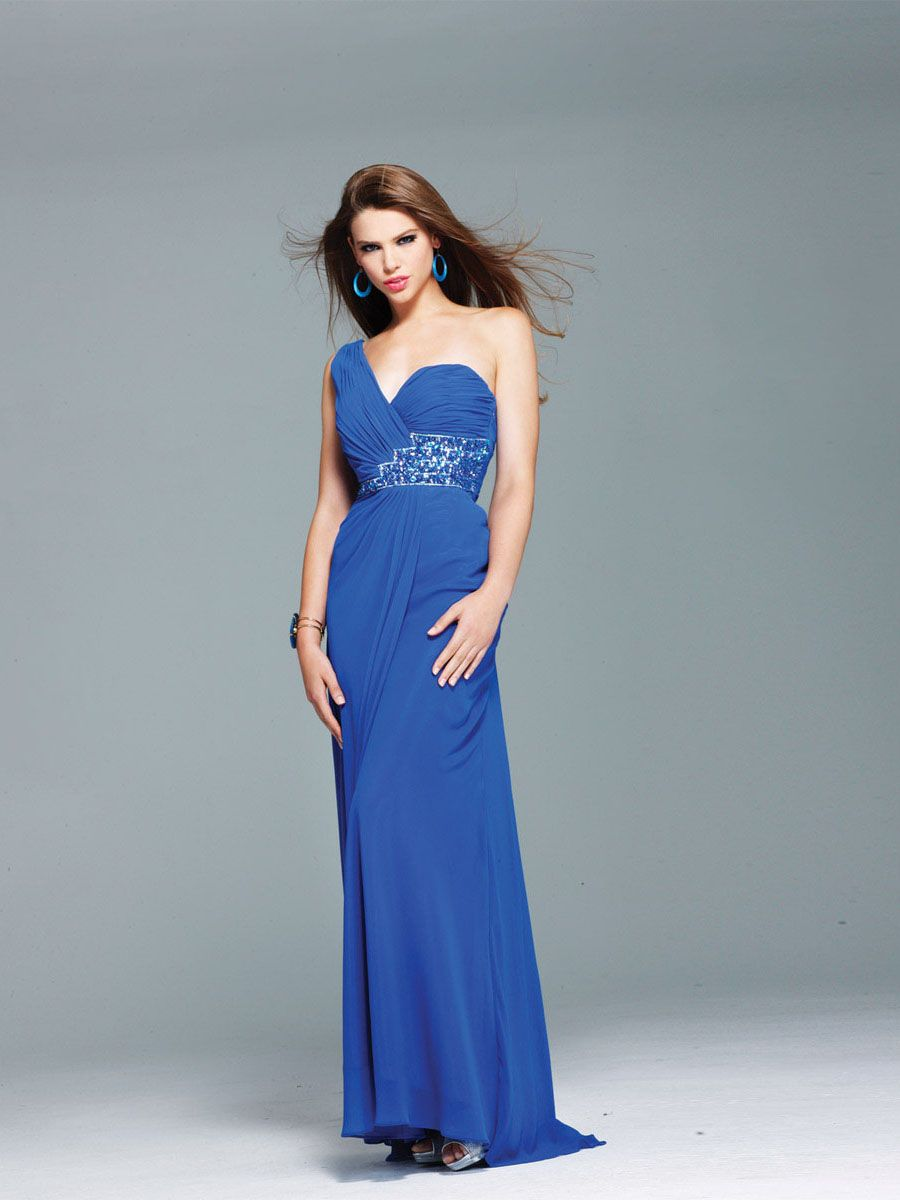 Column Blue One-shoulder Open Back Long Prom Dress With Sequins ...