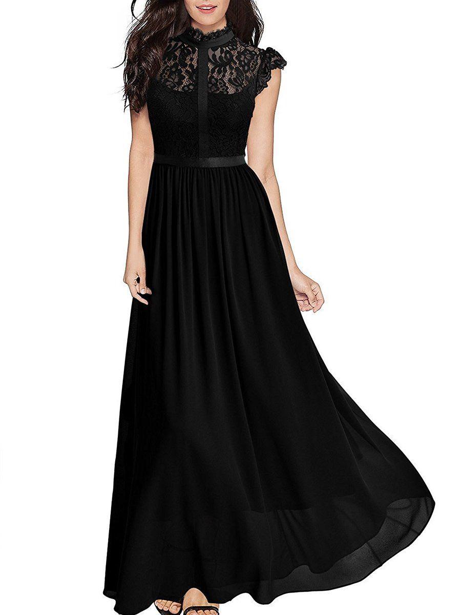 Band Collar See-Through Plain Chiffon Swing Maxi Dress – Bellalike