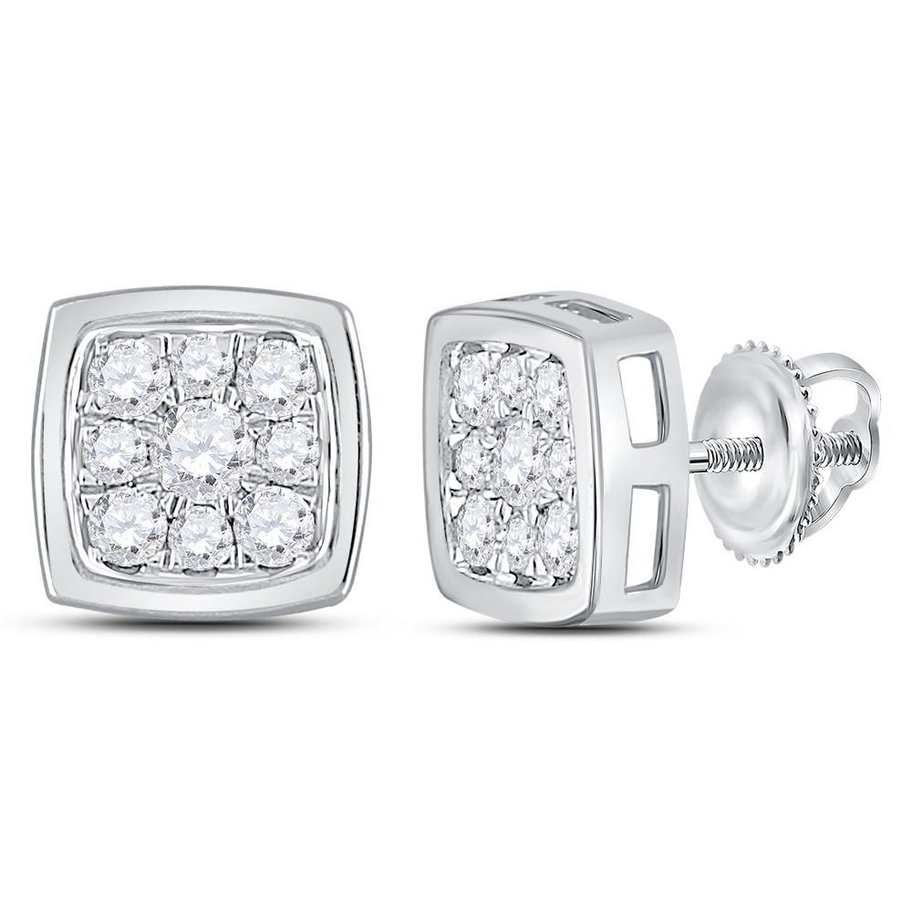 Kt white gold womens round diamond square cluster stud earrings