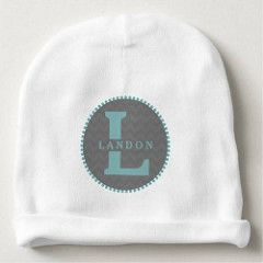 (Blue Monogram  Gray Chevron Baby Beanie) #Blue #Boy...