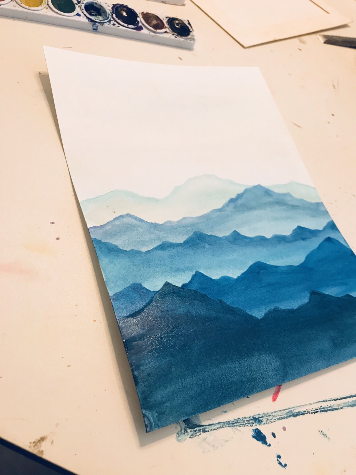 Easy Watercolor Mountain Scene Watercolor Paintings Easy Easy