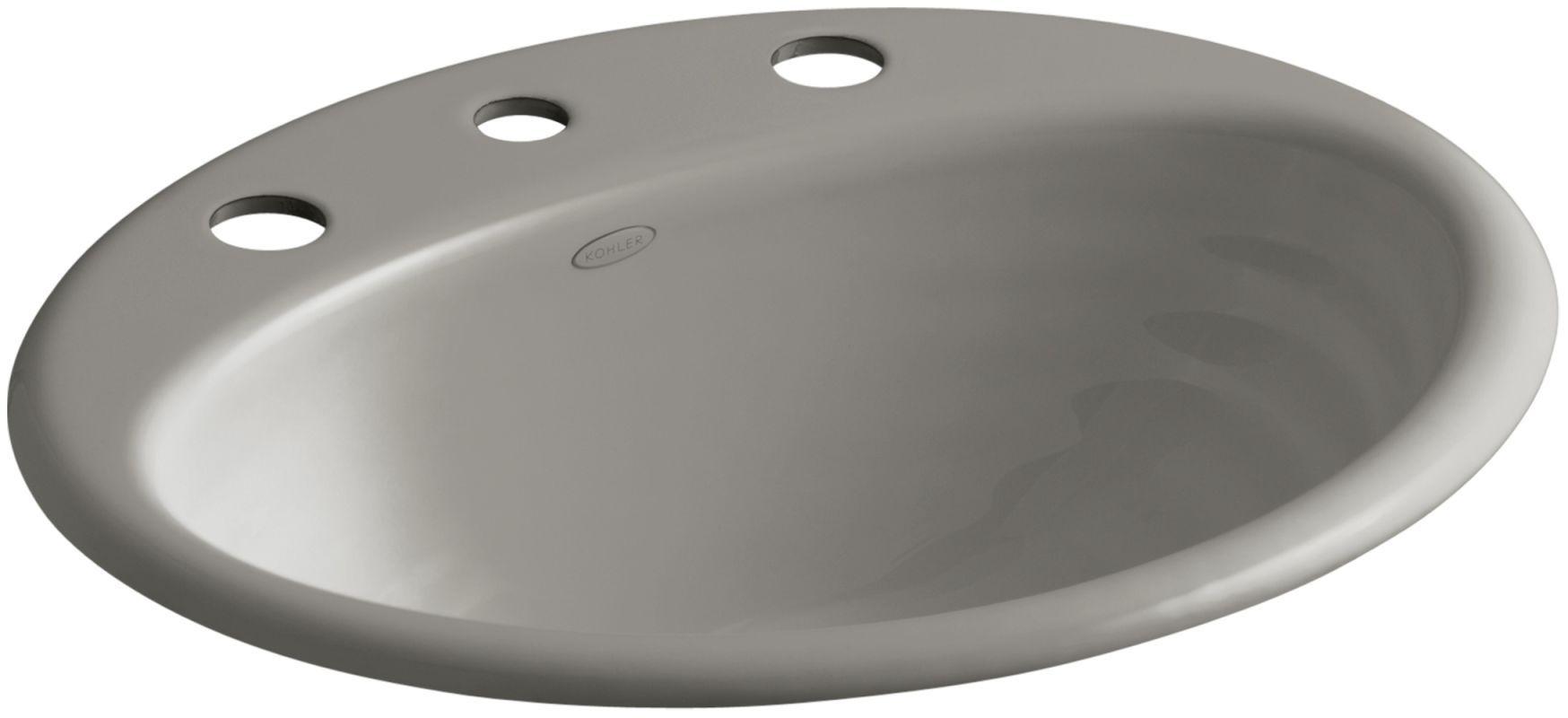 "Kohler K-2906-8 Ellington 16"" Cast Iron Drop In Bathroom Sink with 3 Holes Drill Cashmere Fixture Lavatory Sink Cast Iron"