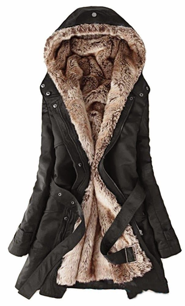 Faux fur lining Women's fur Hoodie coat ... so warm, so fuzzy ...