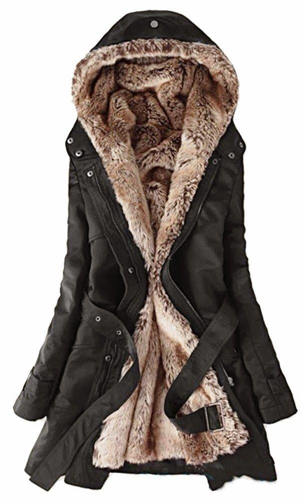 b9cd7ee805 ... Winter Coat Long Jacket Parka Women L Black. Faux fur lining Women s  fur Hoodie coat ... so warm
