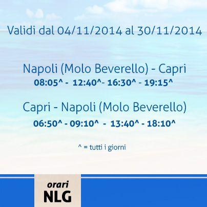 Buon pomeriggio! Rettifichiamo gli orari della linea Napoli-Capri validi dal 4 al 30 Novembre. Per info http://www.navlib.it/ita/index.asp