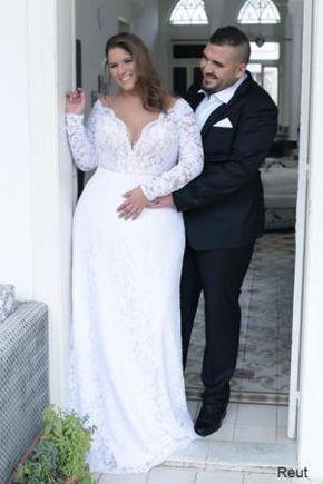 Reut Studio Levana Plus Size Wedding Dress Long Sleeve Lace