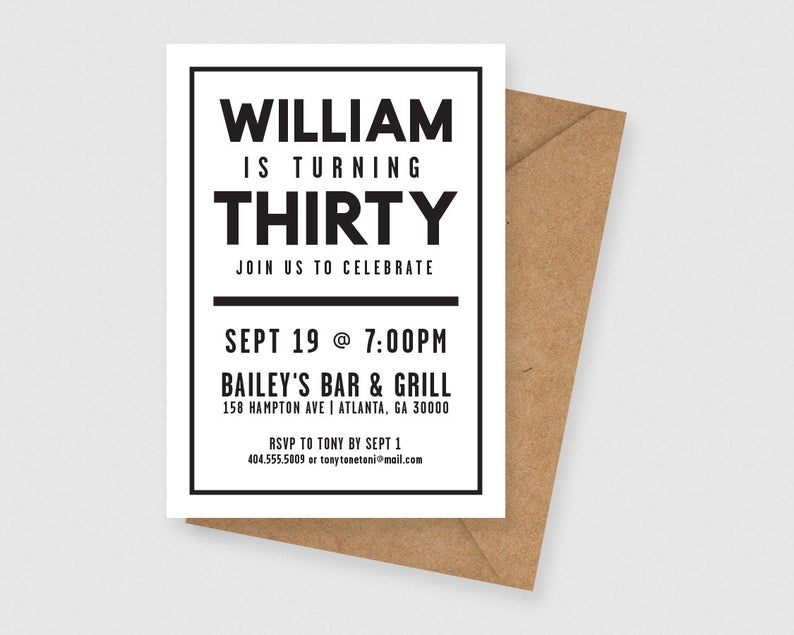 Simple and Modern 30th Birthday for Him Printable