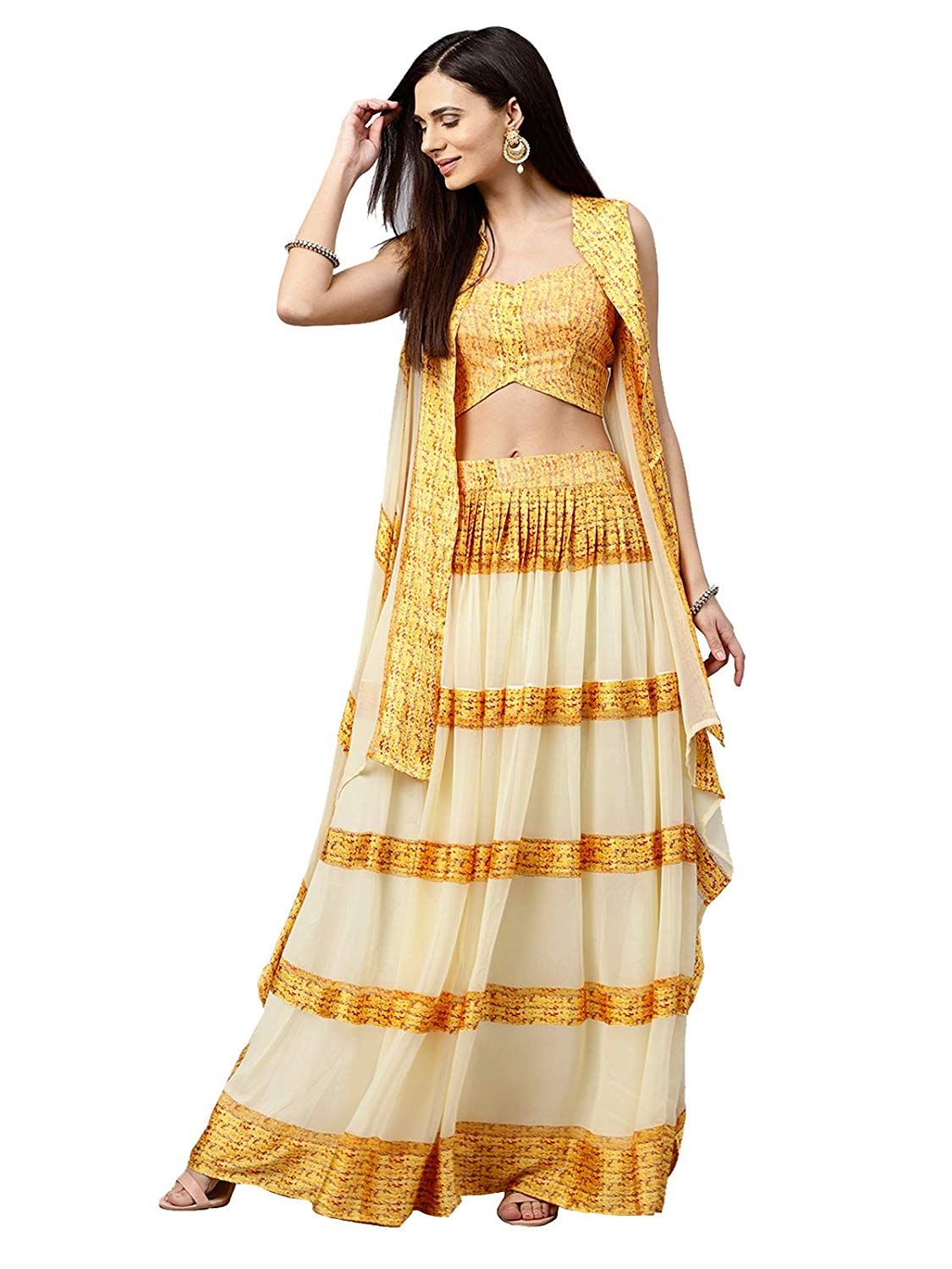 6f98c6766d8 Inddus Beige Chiffon Blend Lehenga Choli With Jacket (Semi-Stitched)   Amazon.in  Clothing   Accessories