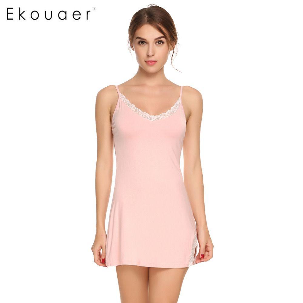 88c07c8ea7 Ekouaer Spaghetti Strap Women Nightgown Sexy Sleeveless Nightwear Lace  Patchwork V Neck Nightgown Sleepwear Backless Home Dress