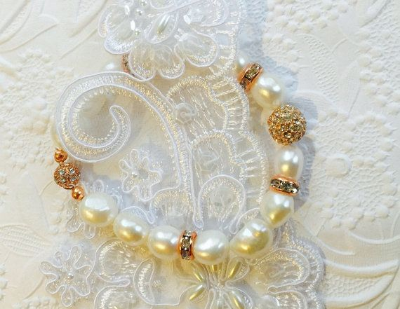 Bridal Pearl and Rose Gold BraceletSnow White by SUSANsBAUBLES