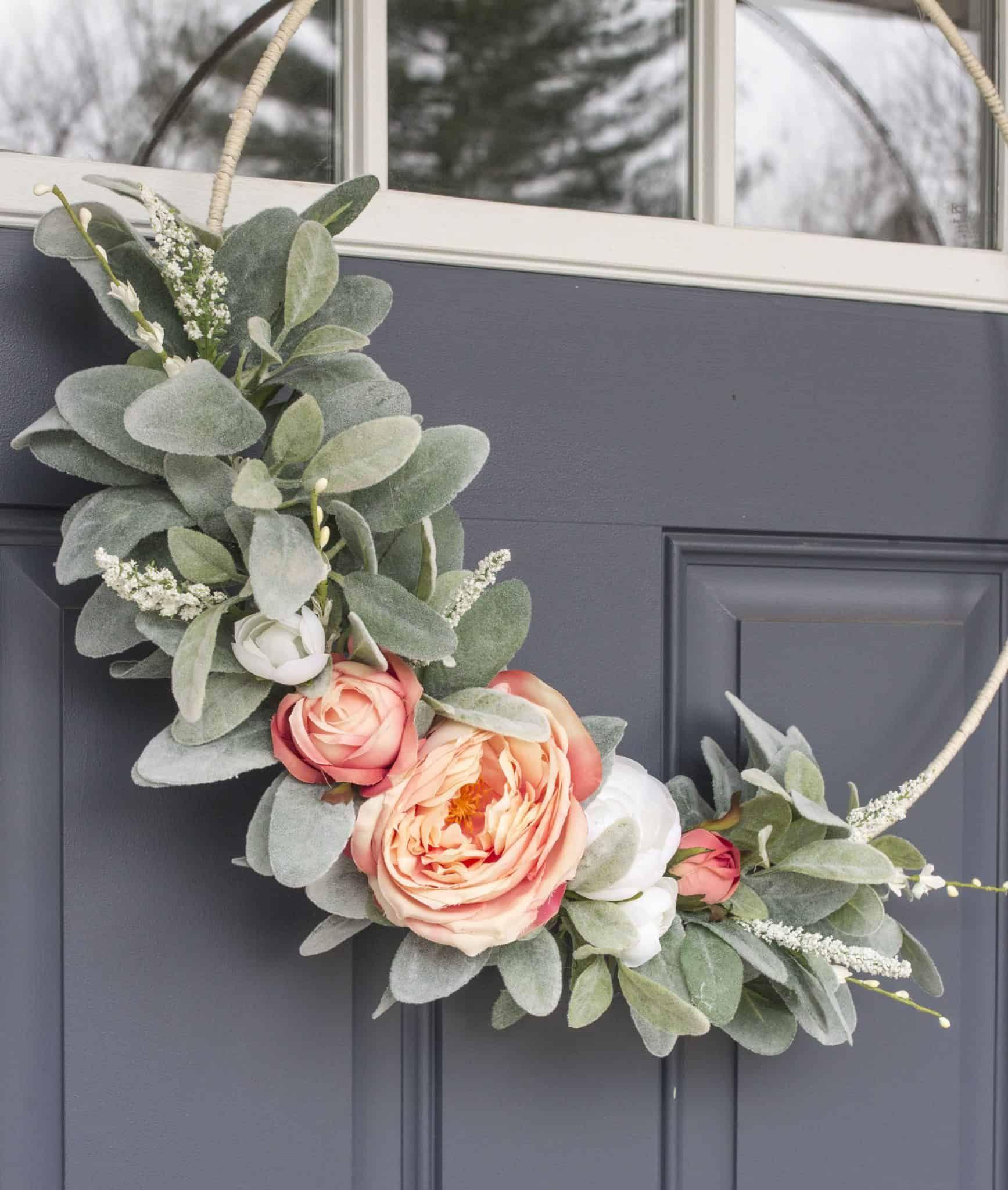Photo of Asymmetric spring wreath of lamb ear and rose | DIY faux flower wreath