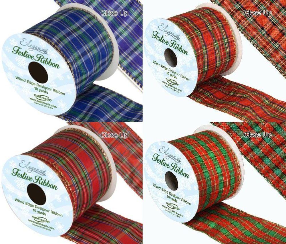 Blue Gingham and Green Ribbon Bows Card Making// Christmas// Crafts