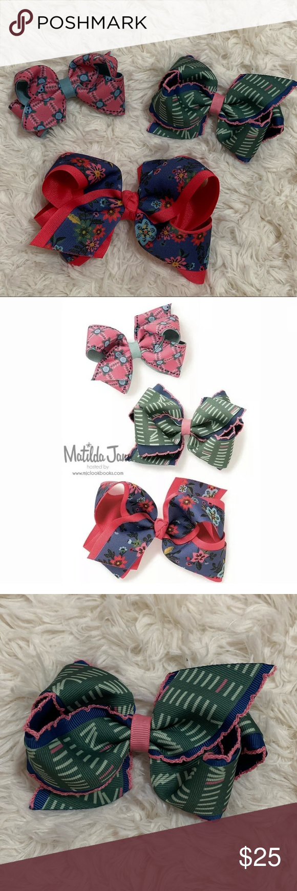 Matilda Jane BRAINIAC BOWS 3-Pc Set School Hair Matilda Jane BRAINIAC BOWS from the Choose Your Path Release. Set of 3. Retail $32.   The Largest blue and pink bow is new, never been worn.   The medium green bow with books print is new, never been worn.   The smallest pink and blue was one once or twice and in excellent condition.   Beautiful hair bows with mixed prints of school books and flowers. Perfect for first day of school! Matilda Jane Accessories Hair Accessories #firstdayofschoolhairst #firstdayofschoolhairstyles