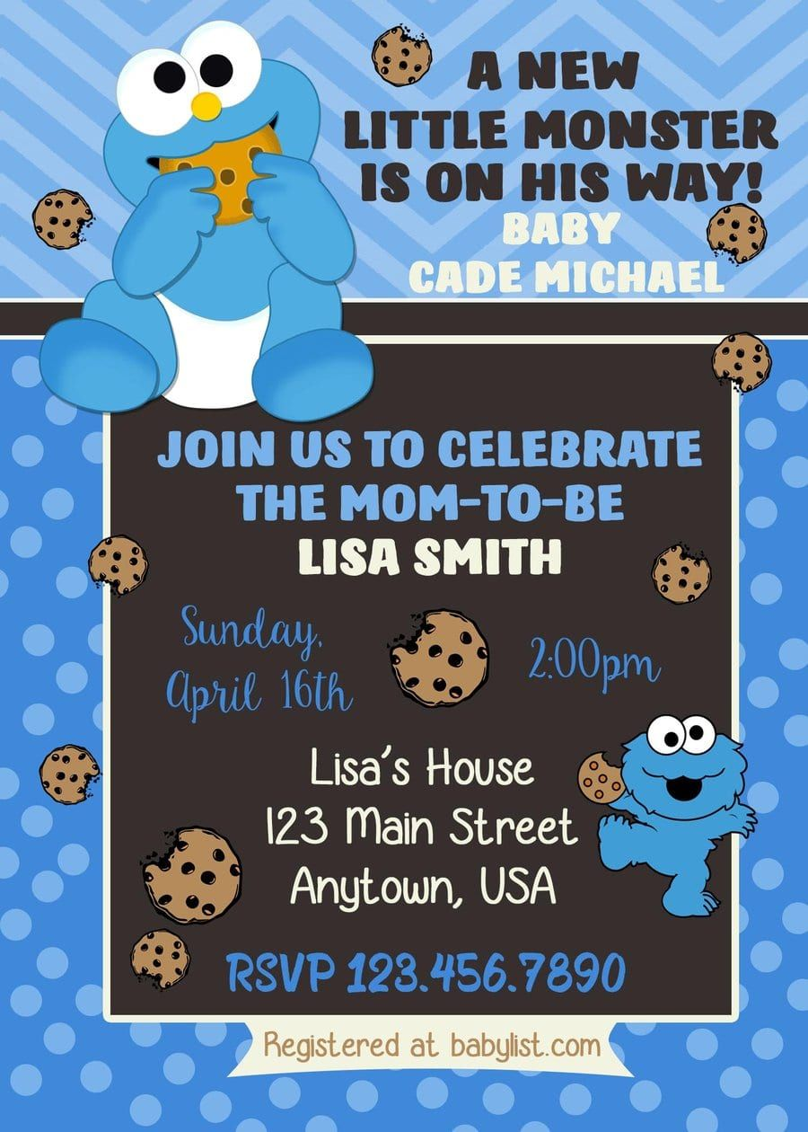Cookie Monster Baby Shower Invitations Monster Baby Showers Monster Baby Shower Invitations Baby Cookie Monster