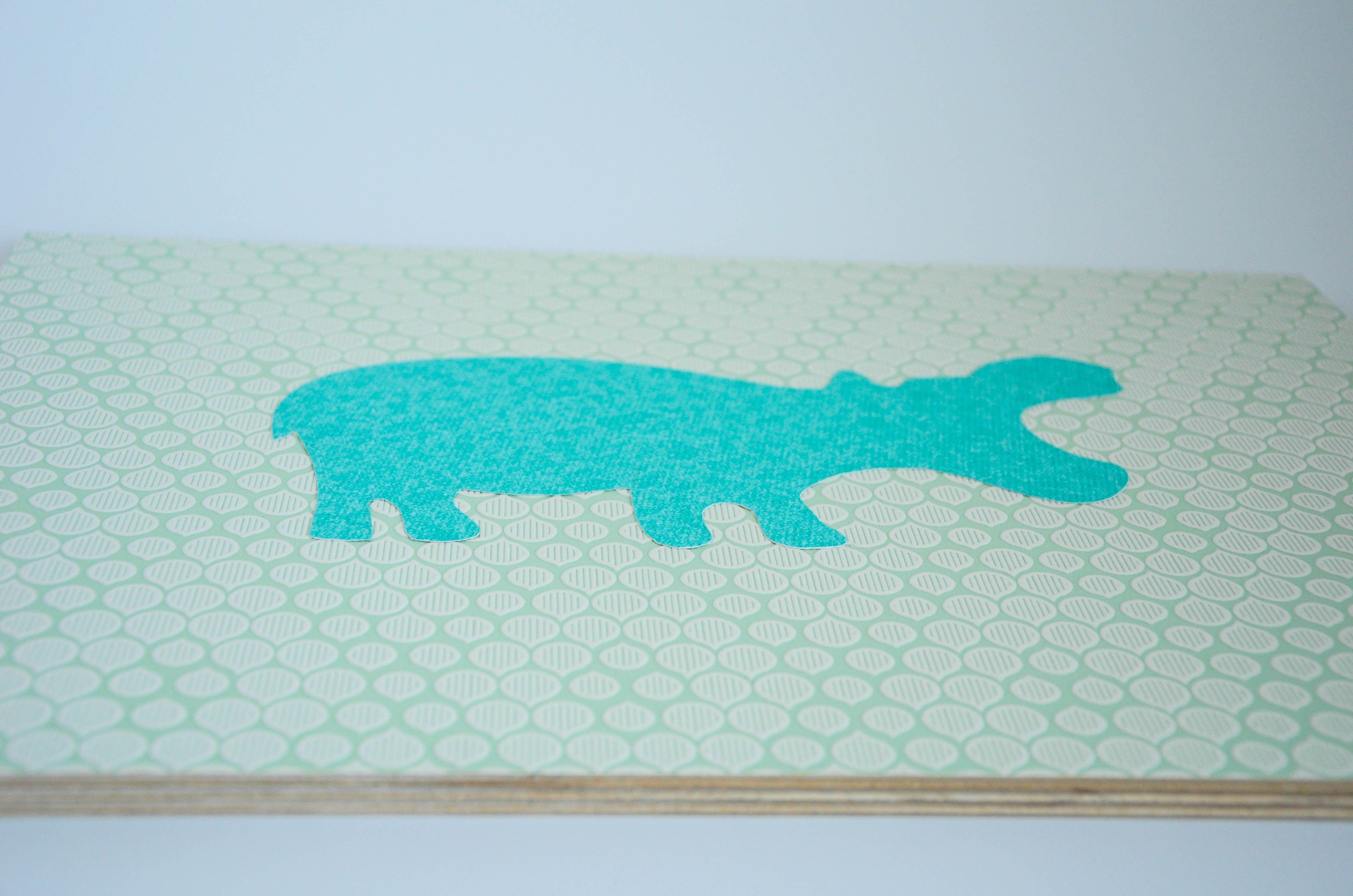 Großes Bild, Tapete auf Mehrschichtholzplatte, 40x30cm #Nilpferd ...