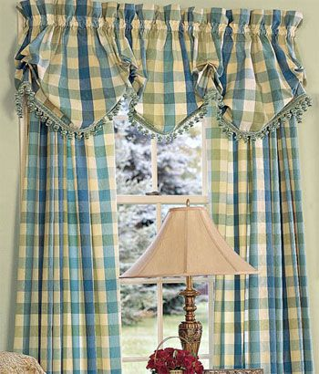 country curtains moire plaid lined balloon valance with fringed trim in blue