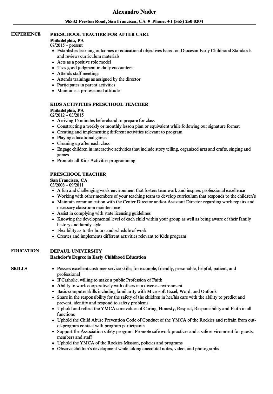 Tips On How To Build A Good Preschool Teacher Resume Teacher Resume Examples Preschool Teacher Resume Education Resume