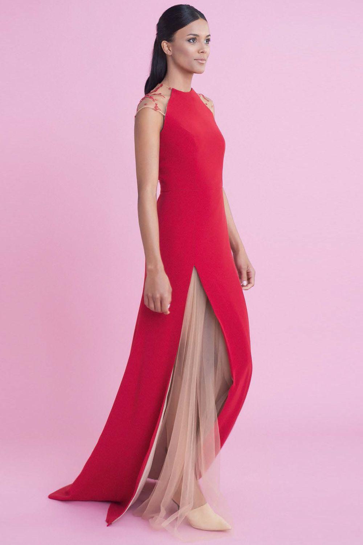 Vestido de fiesta largo combinado en crepe y tul Dafne | Pinterest