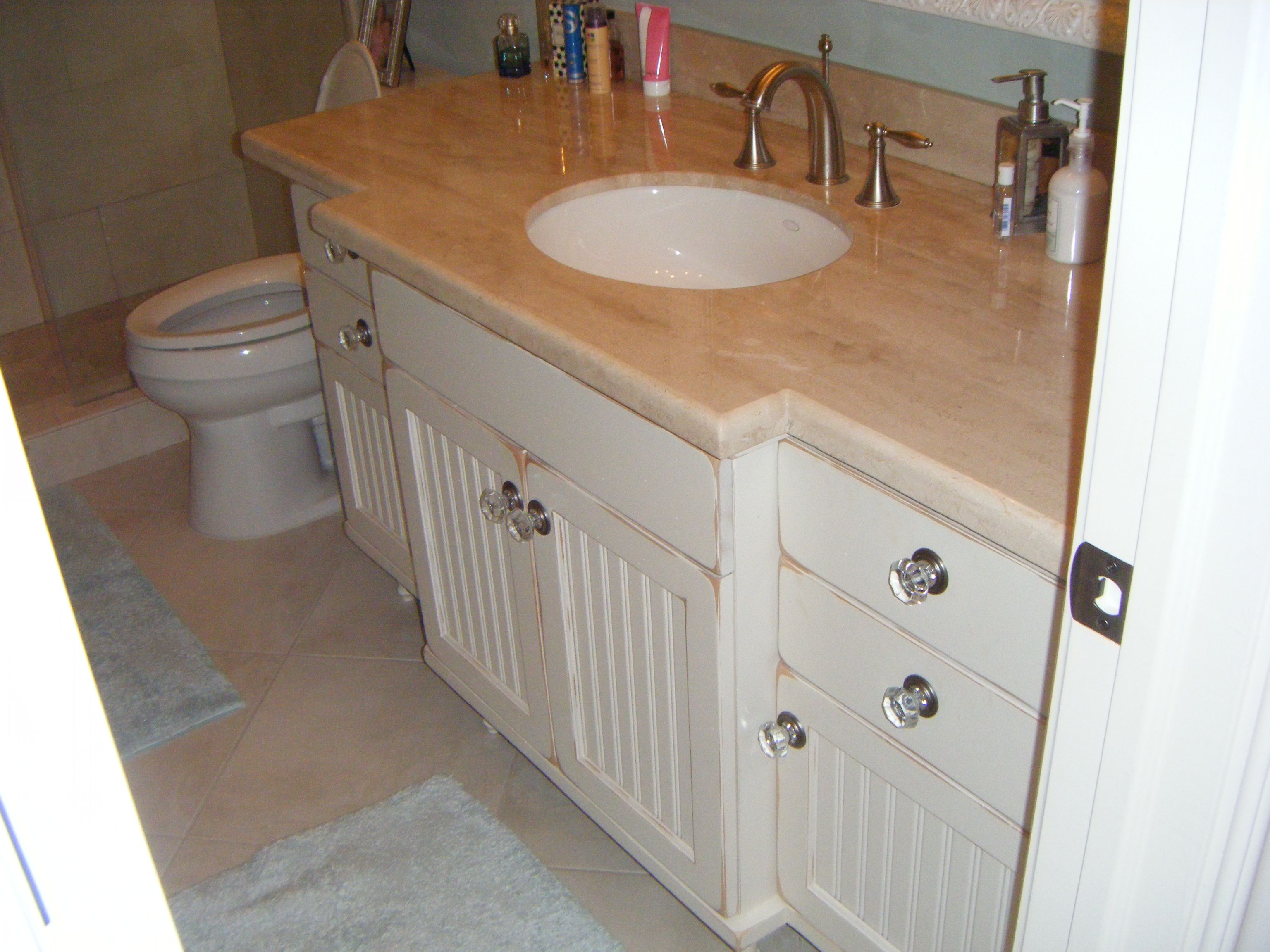 Custom Hardwood Vanity With Bead Board Doors Slab Drawer Fronts With ...