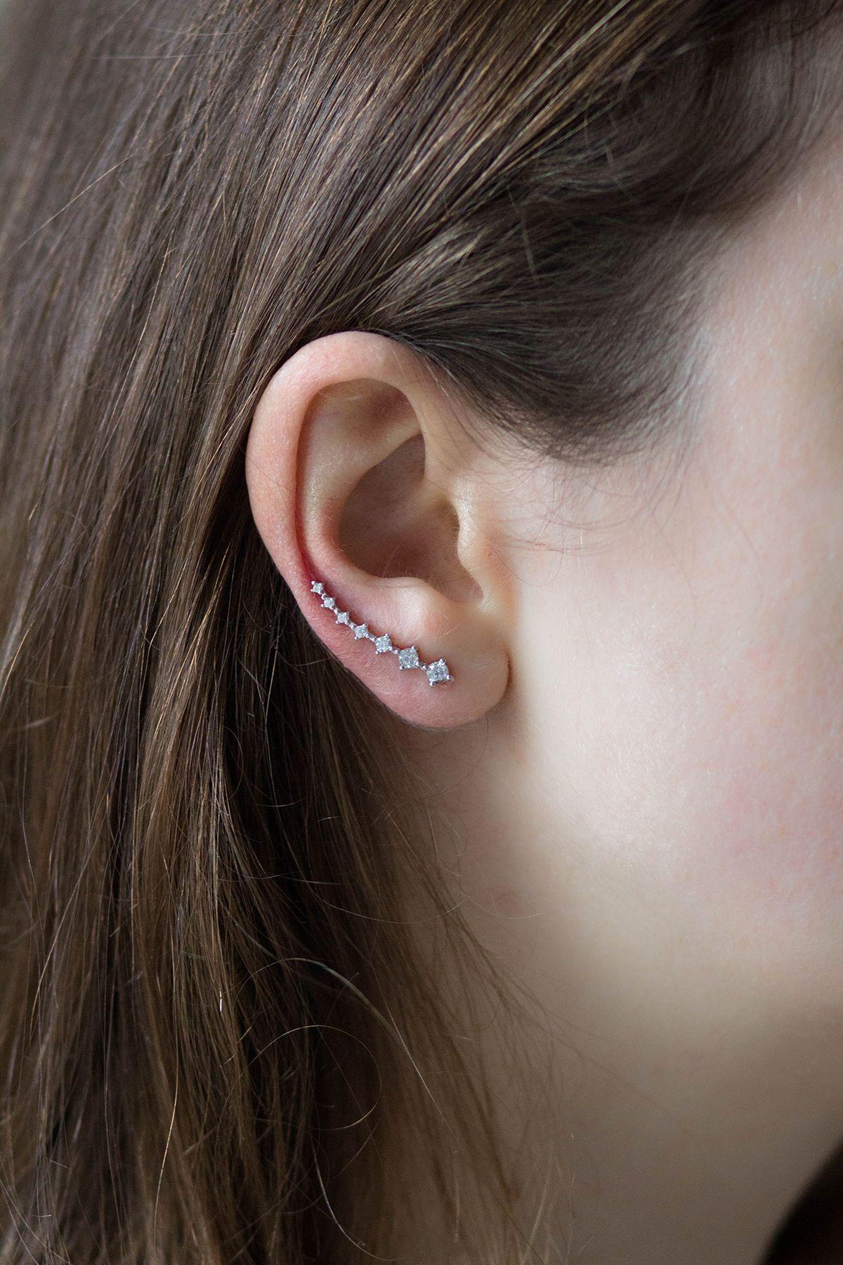 Silver Ear Hook. A sterling silver ear pin with clear Zircon stones. This earring / ear pin can be worn on pierced ears as well as on non-pierced ears.
