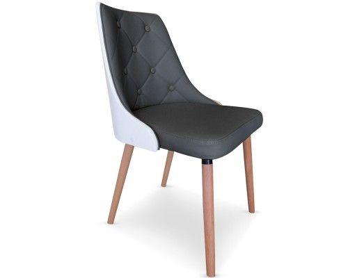 Chaise matelassée Coloris BOIS BLANC \ GRIS La chaise CADIX est une