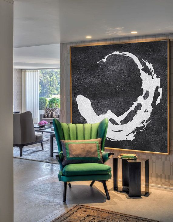 Extra Large Painting, Large Canvas Art. Mminimalist Art, Modern Art  Abstract Painting Black And White Circle Earth. Hand Painted.