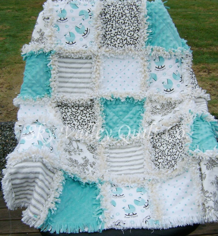 Baby Boy Rag Quilt ~ Aqua brown and beige toile and cradle flannel