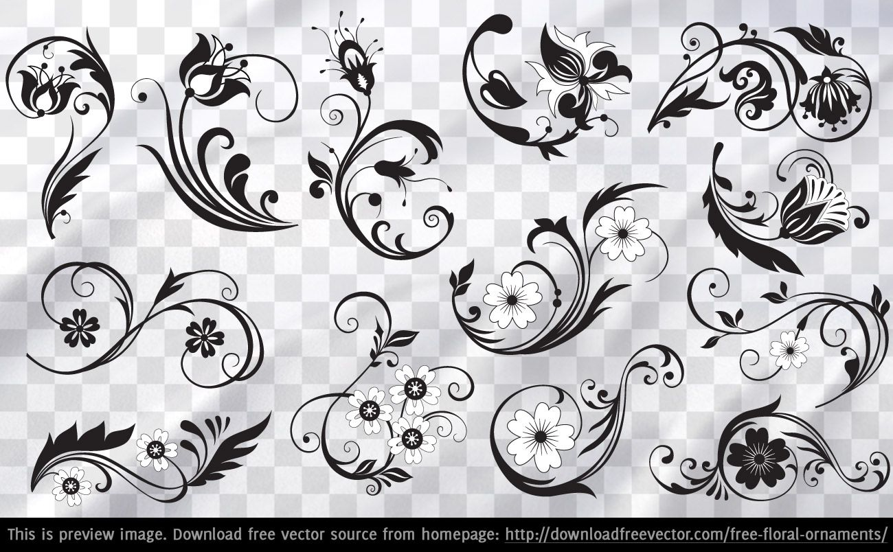 Floral Ornament Vector Free: Downloadfreevector.com-Flowers-Pin-11