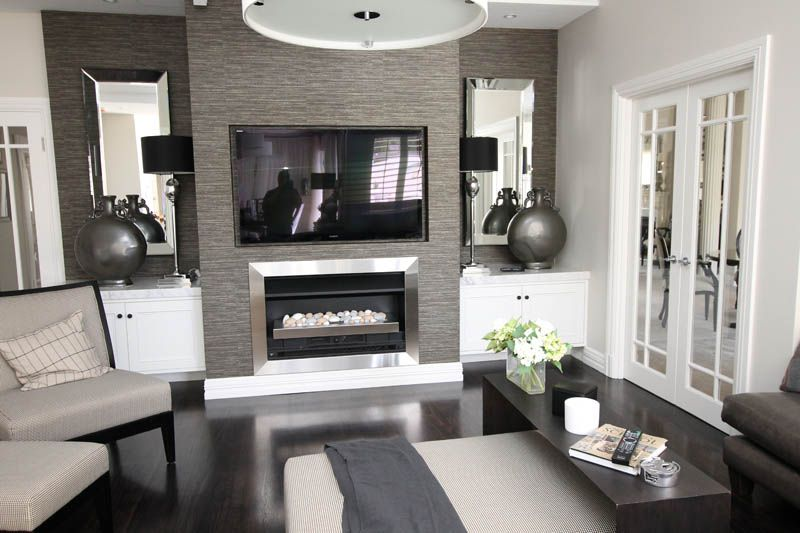 Modern Den With Tv And Fire Place Living Room Styles Living