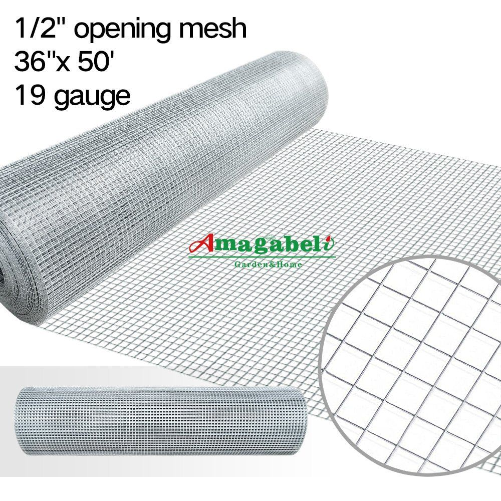 36inx50ft 1/2 in 19gauge Hardware Cloth Galvanized Welded Cage Wire ...