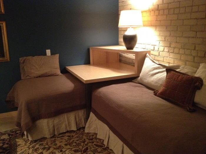 This Corner Table Converts Two Twin Beds Into A Sleeping Or Lounging E