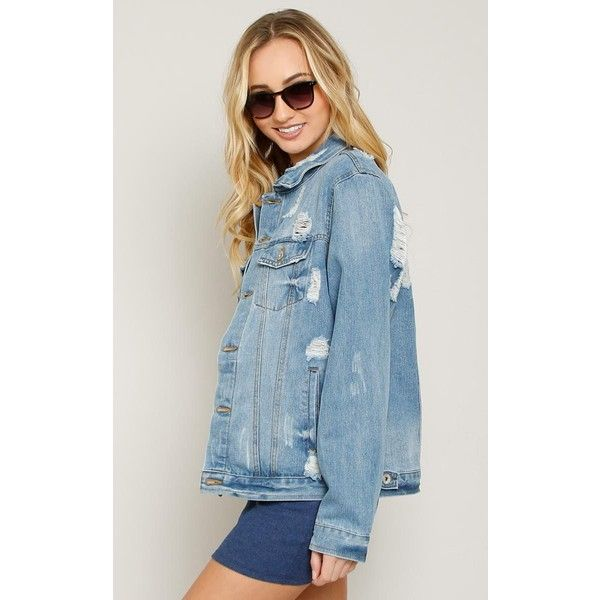 Oversized Distressed Denim Jacket ($37) ❤ liked on Polyvore ...