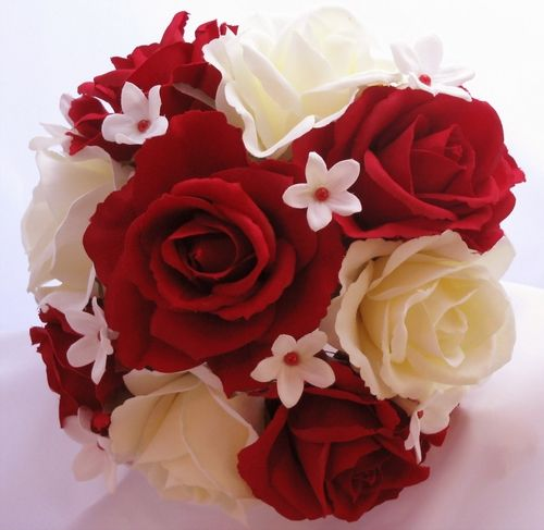 Silk Bouquet Red Ivory Silk Rose Stephanotis