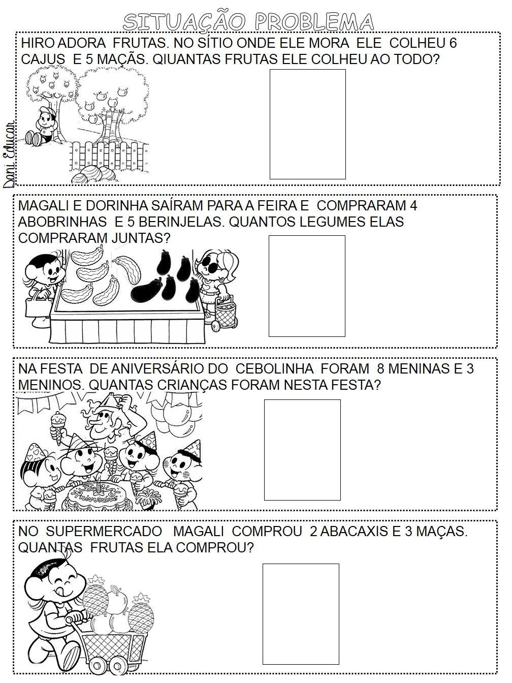 Probleminhas de adição com desenhos ilustrado da Turma da Mônica ...