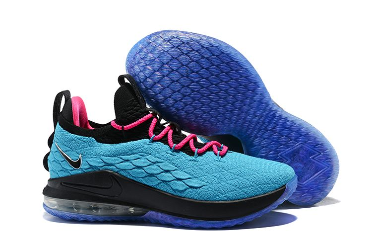 san francisco 484e7 caa98 South Beach Nike LeBron 15 Low Teal Pink-Black Men s Basketball Shoes