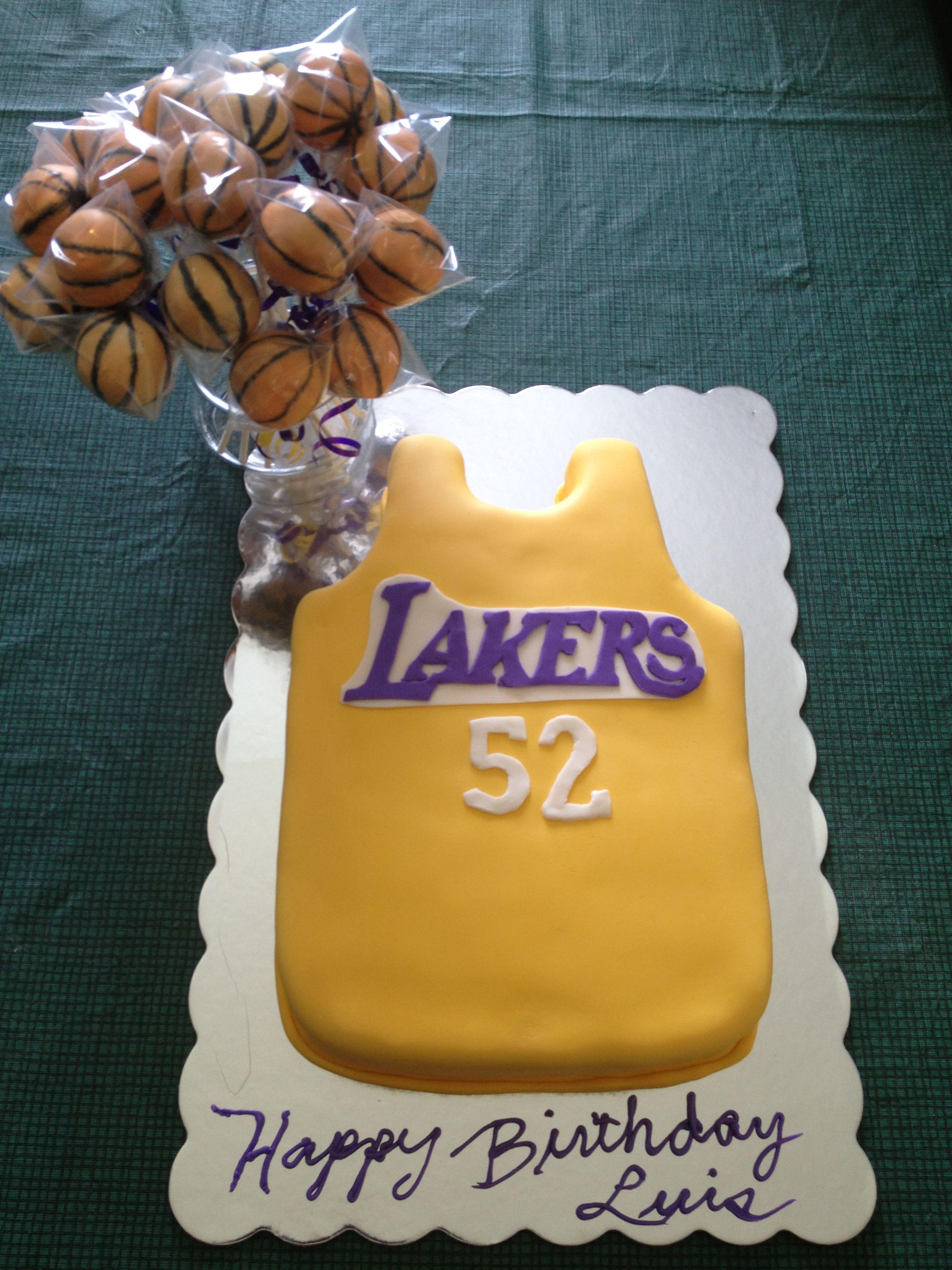 Lakers birthday cake with basketball cake pops Desert Pinterest
