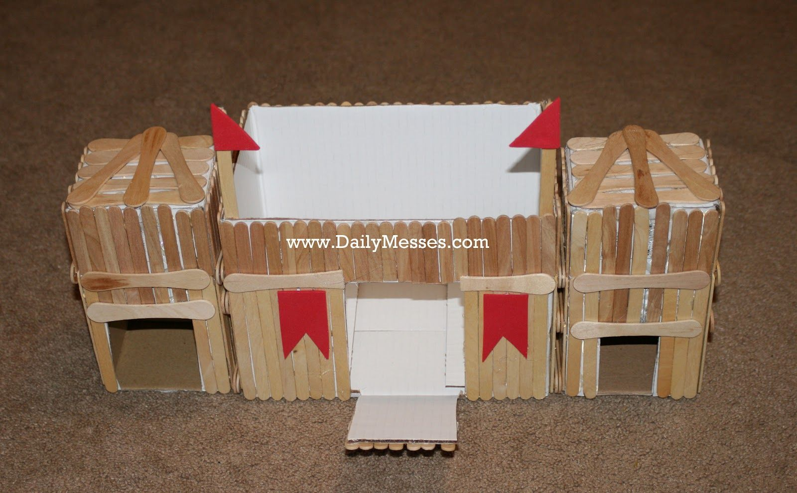 Daily messes fun with popsicle sticks homemade fort and for Homemade forts outdoors