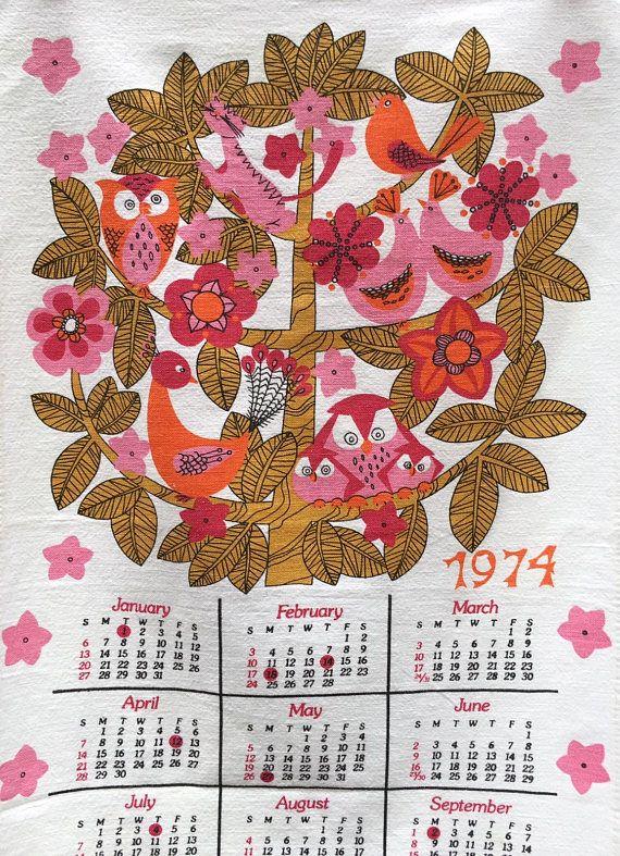 Vintage 1974 Calendar Towel Owls Birds Love Birds Cat Hanging