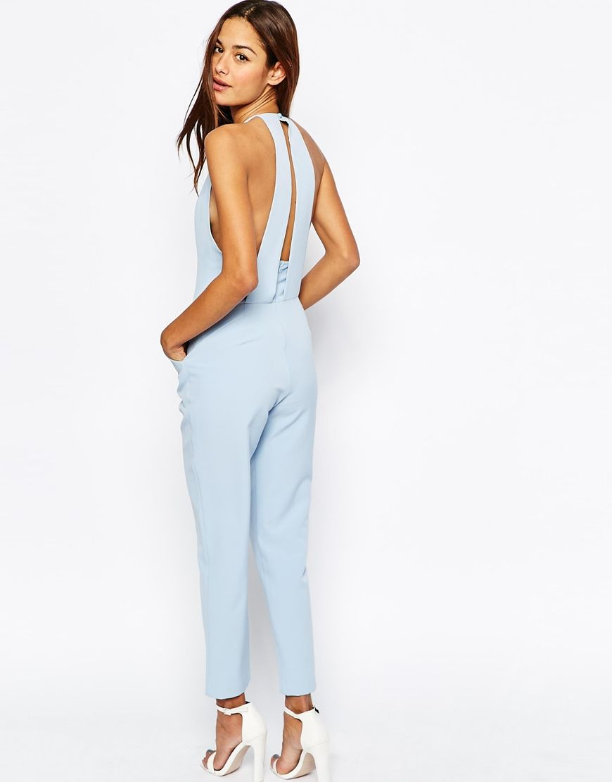 9e4a554332 Light Blue Halter Neck Jumpsuit perfect for summer wedding guest outfit.