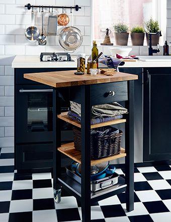 STENSTORP Servierwagen in Schwarzbraun Eiche mit klappbarer - küchen unterschrank mit arbeitsplatte