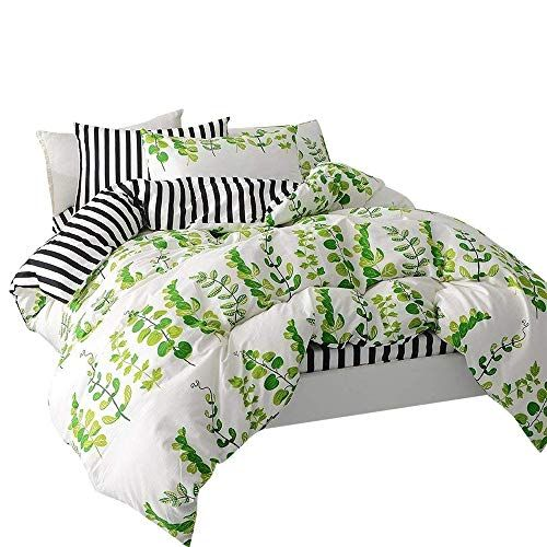 164b34696c VClife Leaves Bedding Sets Queen Duvet Cover Sets Stripe Duvet Cover with 2  Pillowcases Hotel Quality