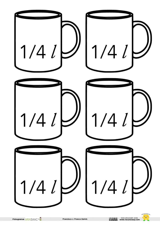 Plantillas para la capacidad: 1 l, 1/2 l y 1/4 l | matematicas ...