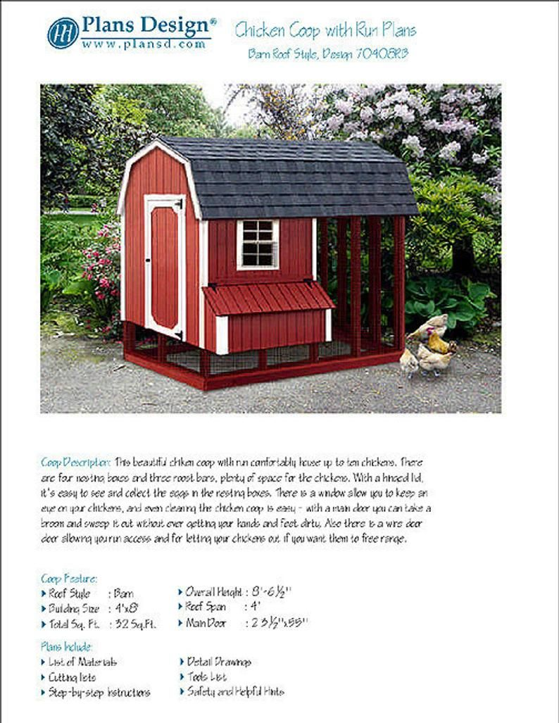 4 Ft X 8 Ft Chicken Coop With Run Plans Barn Gambrel Roof Etsy In 2020 Gambrel Roof Roof Styles Green Roof